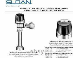 Sloan 8111 Valve G2 Optima Sensor Toilet Flush Valve 8100 Series Low Consumption