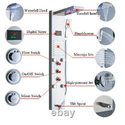 Stainless Steel Shower Panel Tower System LED Rainfall Shower Head, Bathroom Suit
