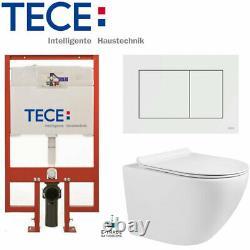 TECE 8cm SLIM FRAME + FLUSH PLATE +COMPACT RIMLESS WALL HUNG TOILET SOFT CLOSING