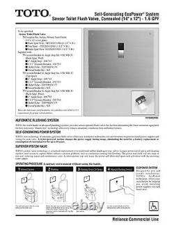 TOTO Self-Generating EcoPower System Sensor Toilet Flush Valve Concealed 1.6 GPF