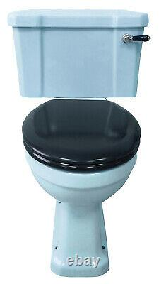 TRTC Art Deco Blue Close Coupled Toilet Traditional New