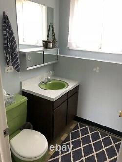 Vintage 1970s Kohler Avocado Green Toilet and Matching Sink! 3.5 gallon Flush