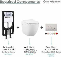 Wall Mounted Toilet Tank Carrier White for 2x4 Residential Studs Dual Flush