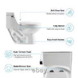 White Single Flush Elongated One Piece Toilet withSoft Closing Seat Water Closet