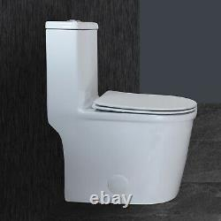 WinZo Modern Compact Small Dual Flush Short Depth One Piece Toilet 12 Rough-in