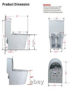 WinZo WZ5069 Compact Dual Flush One Piece Toilet Short for Small Bathroom White