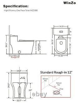 WinZo WZ5080 Modern Dual Flush One Piece Toilet Low Profile Comfort Chair Height